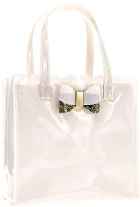 Sally Hair Care Tote with Glitter Bow Ivory Pink