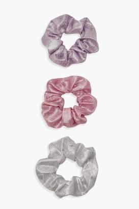 boohoo Iridescent Glitter Scrunchie 3 Pack
