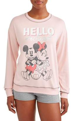 Disney Women's and Women's Plus Mickey Mouse and Minnie Pajama Sweatshirt Pink
