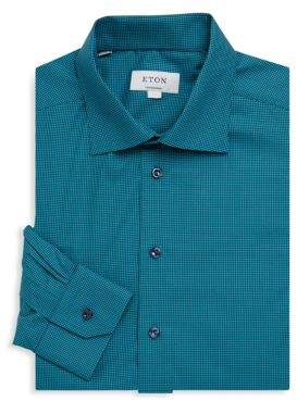 Eton Contemporary-Fit Mini Gingham Cotton Dress Shirt