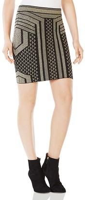 BCBGMAXAZRIA Josa Metallic Graphic Mini Skirt $198 thestylecure.com