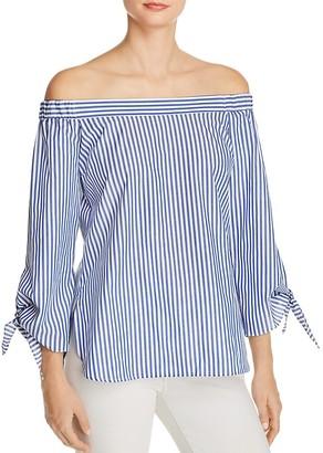 Bardot Off-the-Shoulder Stripe Shirt $69 thestylecure.com