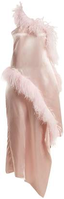 Marques Almeida MARQUES'ALMEIDA Asymmetric feather-embellished satin dress