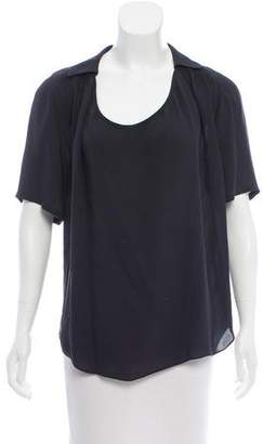 Halston Silk Short Sleeve Top