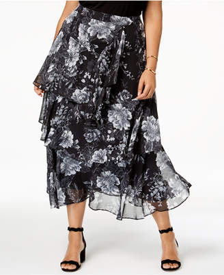 INC International Concepts I.n.c. Plus Size Printed Tiered Skirt, Created for Macy's