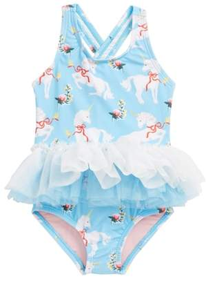 Rock Your Baby White Unicorns Tulle One-Piece Swimsuit
