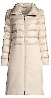 Peserico Women's Ivory Nylon & Wool-Blend Zip Down Puffer Coat
