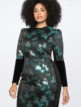 Brocade and Velvet Puff Sleeve Dress