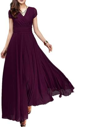 OwlFay Summer Maxi Long Chiffon Dresses for Women Casual Formal Wedding Bridesmaid Wrap Party Dresses Pageant Cocktail Evening Prom Swing Gown S