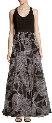 Carmen Marc Valvo Women's Embroidered Crepe Organza Gown