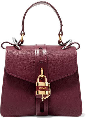 Chloé Aby Small Textured And Smooth Leather Tote - Burgundy