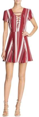 Lovers + Friends Lace-Up Striped Dress