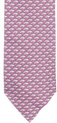 Hermes Dolphin Print Silk Tie