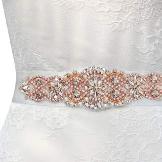 clear FANGZHIDI Wedding Dress Rose Gold Sash with Rhinestones and Pearls /Off