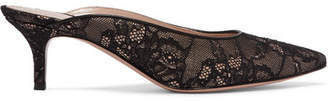 Gianvito Rossi 55 Lace Mules - Black