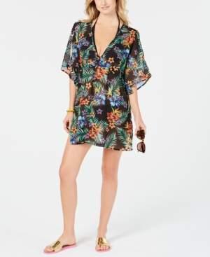 Miken Juniors' Printed Chiffon Dolman-Sleeve Cover-Up Women's Swimsuit