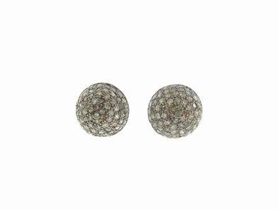 Joannes Treasure Hunt Oxidized Sterling and Diamond Stud Earrings