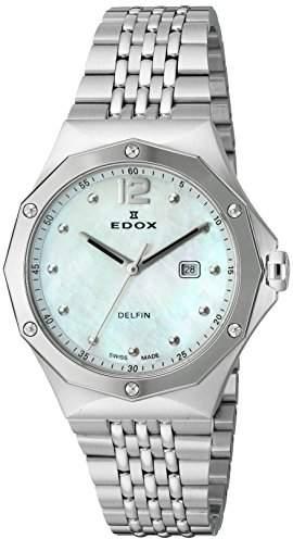 Edox Women's 54004 3M NAIN Delfin Analog Display Swiss Quartz Silver Watch