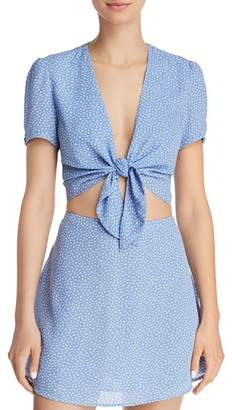 Olivaceous Polka Dot Tie-Front Cropped Top - 100% Exclusive