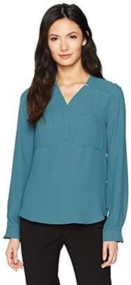 Nine West Women's Long Sleeve Solid Crepe 2 Pocket Blouse