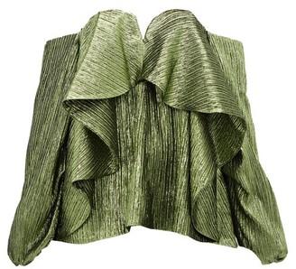 Halpern Metallic Draped Lame Bustier Blouse - Womens - Green