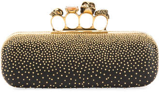 Alexander McQueen Knuckle Studded Leather Box Clutch Bag, Black