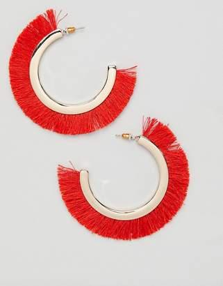Missguided red fringe hoop earrings