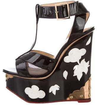 Charlotte Olympia Mesh-Trimmed Ankle Strap Wedges