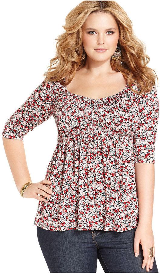 American Rag Plus Size Three-Quarter-Sleeve Floral-Print Babydoll Top