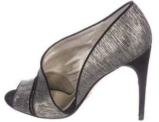 Dolce & Gabbana Metallic Peep-Toe Booties
