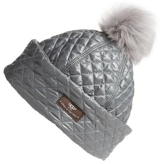 Women's Ugg Australia Water Resistant Quilted Hat With Genuine Shearling Pompom - Grey $75 thestylecure.com