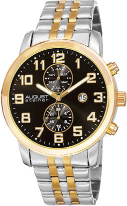 August Steiner Men's Two Tone Chronograph Watch, 44mm