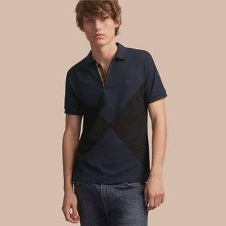 Burberry Geometric Motif Cotton Piqué Polo Shirt with Check Placket $250 thestylecure.com