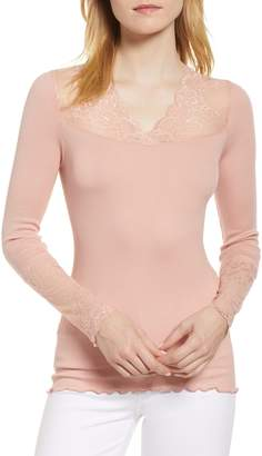 Rosemunde Brigit Lace Embellished Silk Blend Top