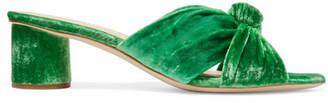 Loeffler Randall Celeste Knotted Velvet Mules - Green