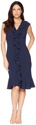 Maggy London 30s Crepe Cascade Ruffle Front Dress Women's Dress