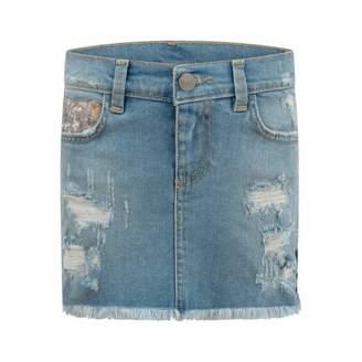 Pinko PinkoBlue Distressed Denim Skirt