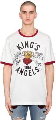 Dolce & Gabbana King's Angel Print Cotton Jersey T-Shirt