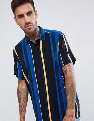 Asos DESIGN oversized stripe shirt with square collar