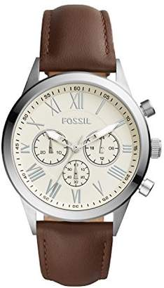Fossil Men's 'Flynn Midsize' Quartz Stainless Steel and Leather Casual Watch
