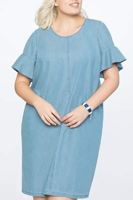 ELOQUII Bow Back Chambray Easy Tee Dress (Plus Size)