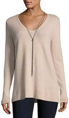 Neiman Marcus Cashmere V-Neck Pullover w/ Chain Necklace