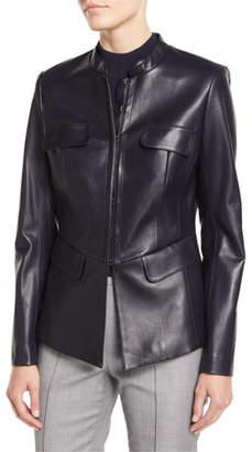 St. John Shirt-Collar Hook-Front Leather Jacket w/ Pocket Flaps