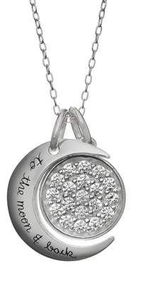 Love You To The Moon & Back Cubic Zirconia Sterling Silver Moon & Disc Pendant Necklace