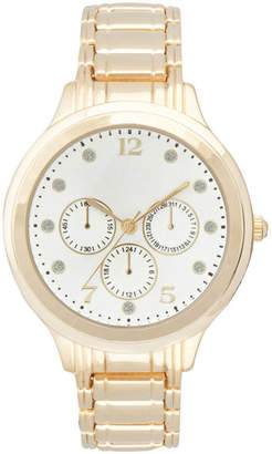 JCPenney FASHION WATCHES Womens Silver-Tone Dial Crystal-Accent Watch