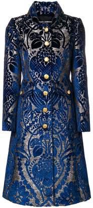 Dolce & Gabbana floral jacquard flared coat