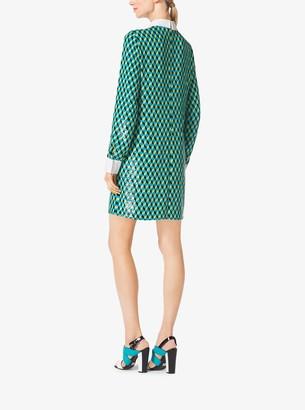 Michael Kors Sequined Hexagon Silk-Georgette Shirtdress