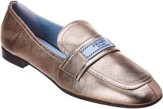 Prada Etiquette Logo Metallic Leather Loafer