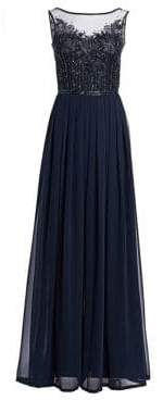 Theia Embellished Tulle& Chiffon Georgette Jumpsuit