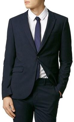 Men's Topman Skinny Fit Navy Blue Suit Jacket $280 thestylecure.com
